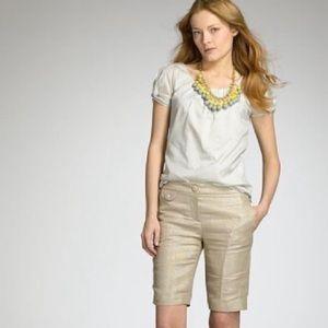 J Crew linen metallic gold size 8 shorts city fit